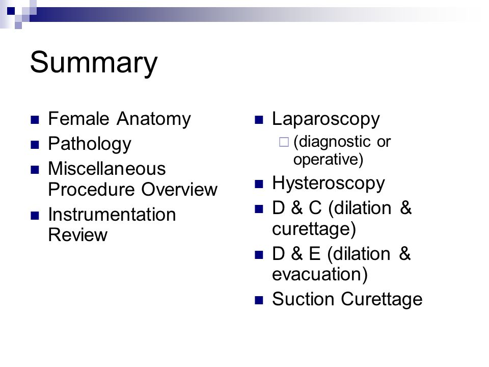 Summary Female Anatomy Pathology Miscellaneous Procedure Overview
