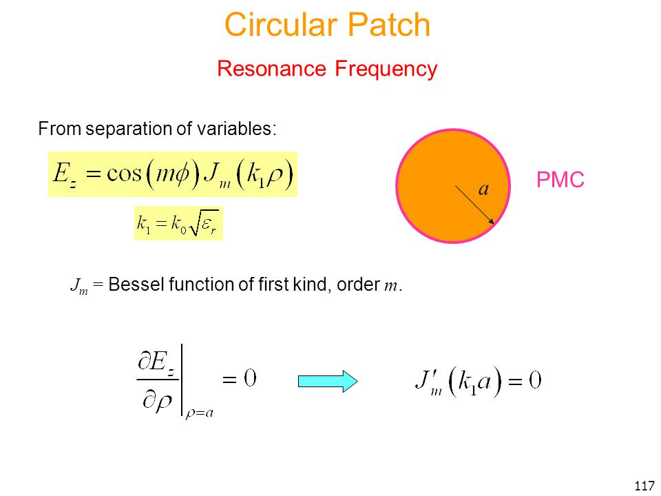 Circular Patch Resonance Frequency PMC a From separation of variables: