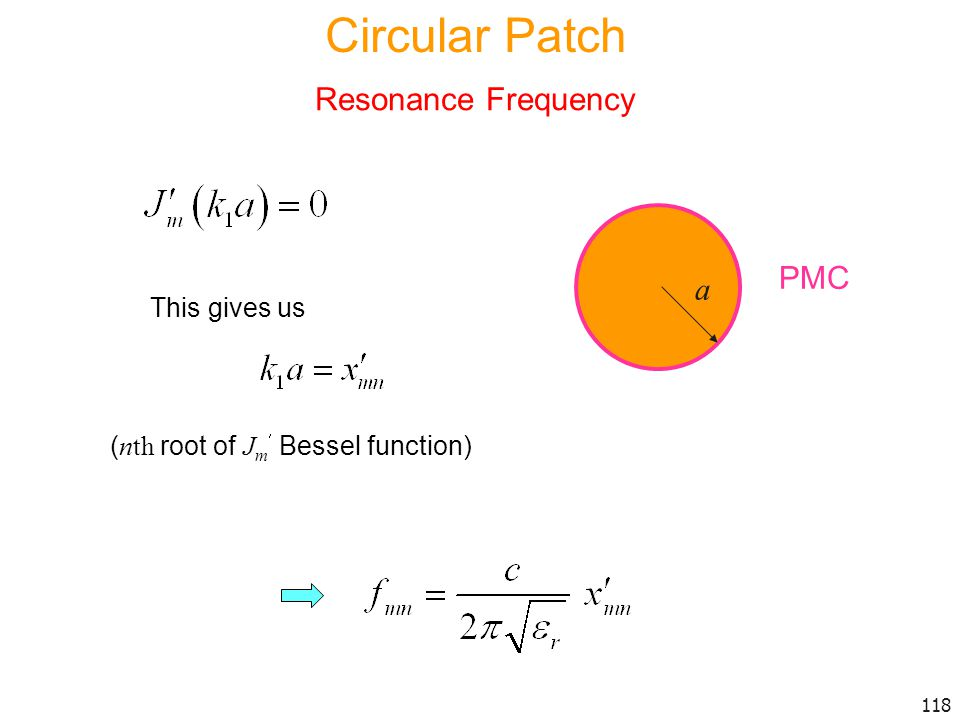 Circular Patch Resonance Frequency PMC a This gives us