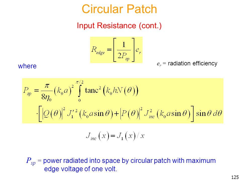 Circular Patch Input Resistance (cont.)