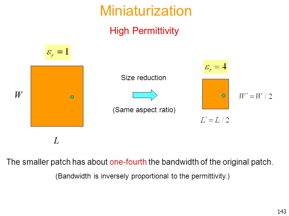 Miniaturization High Permittivity W L