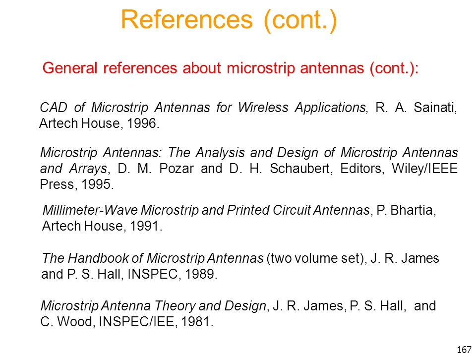 References (cont.) General references about microstrip antennas (cont.):