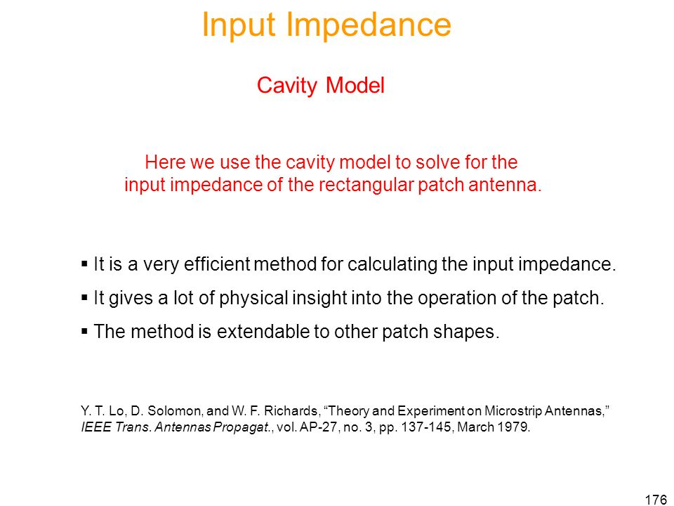 Input Impedance Cavity Model