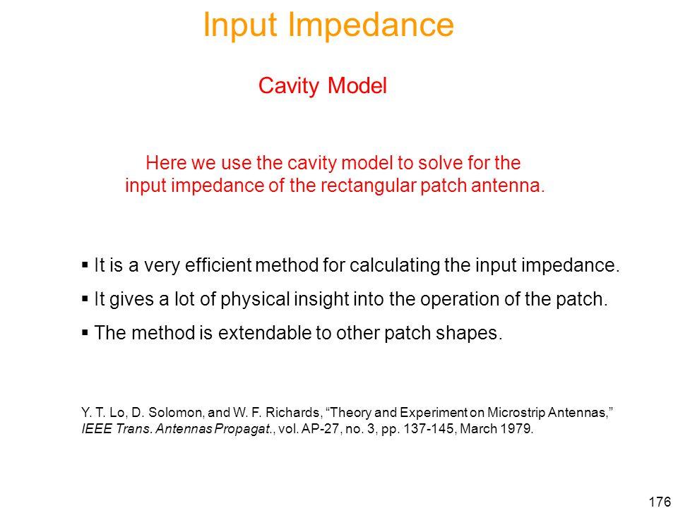 Input Impedance Cavity Model