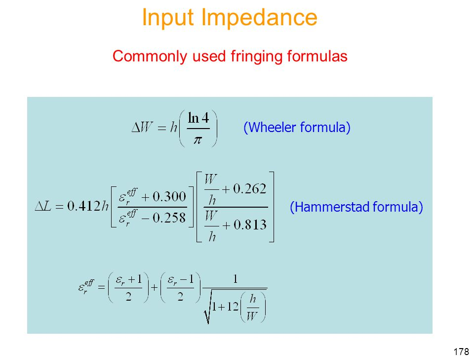 Input Impedance Commonly used fringing formulas (Wheeler formula)