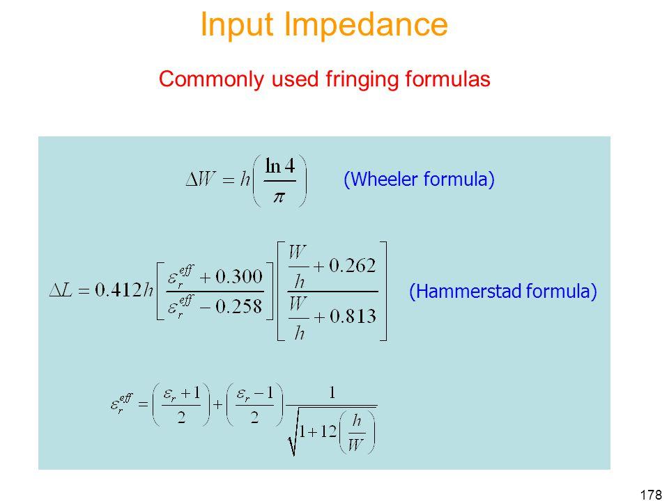Input Impedance Commonly used fringing formulas (Wheeler formula)