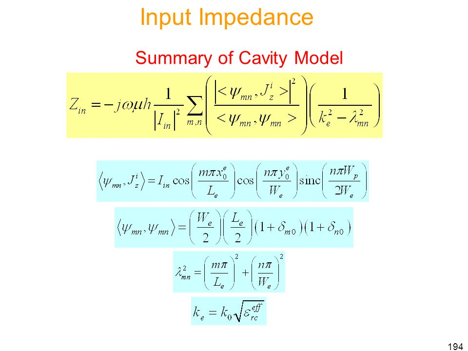 Input Impedance Summary of Cavity Model