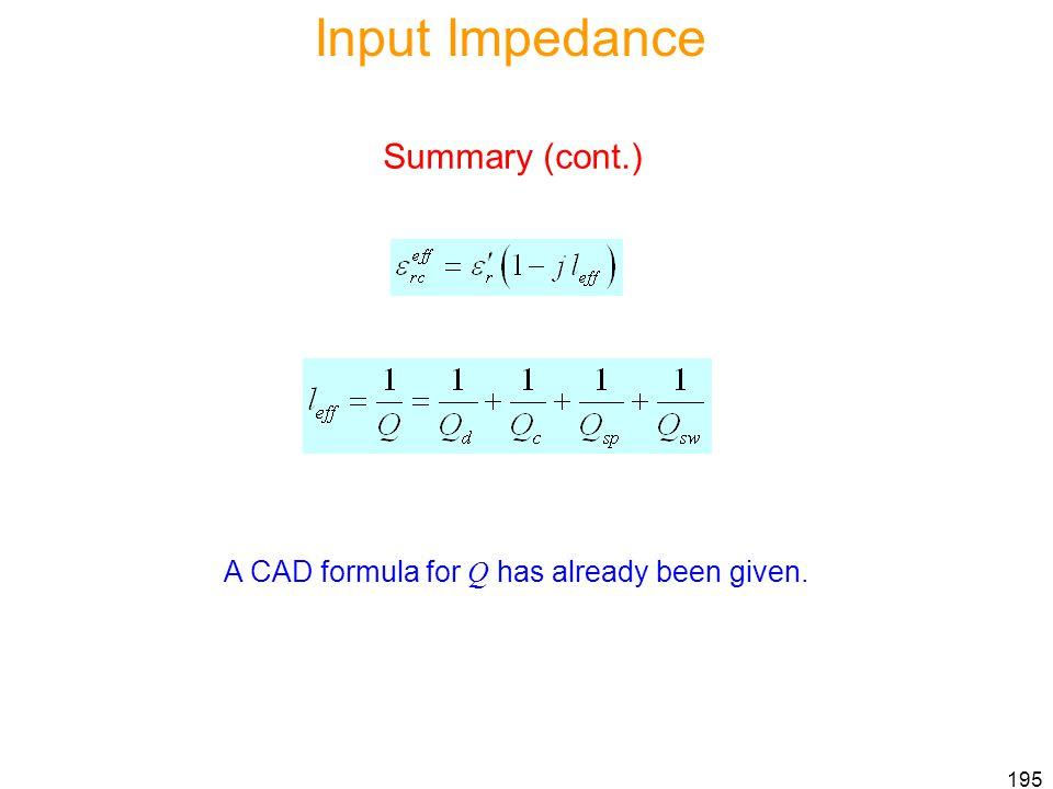 Input Impedance Summary (cont.)