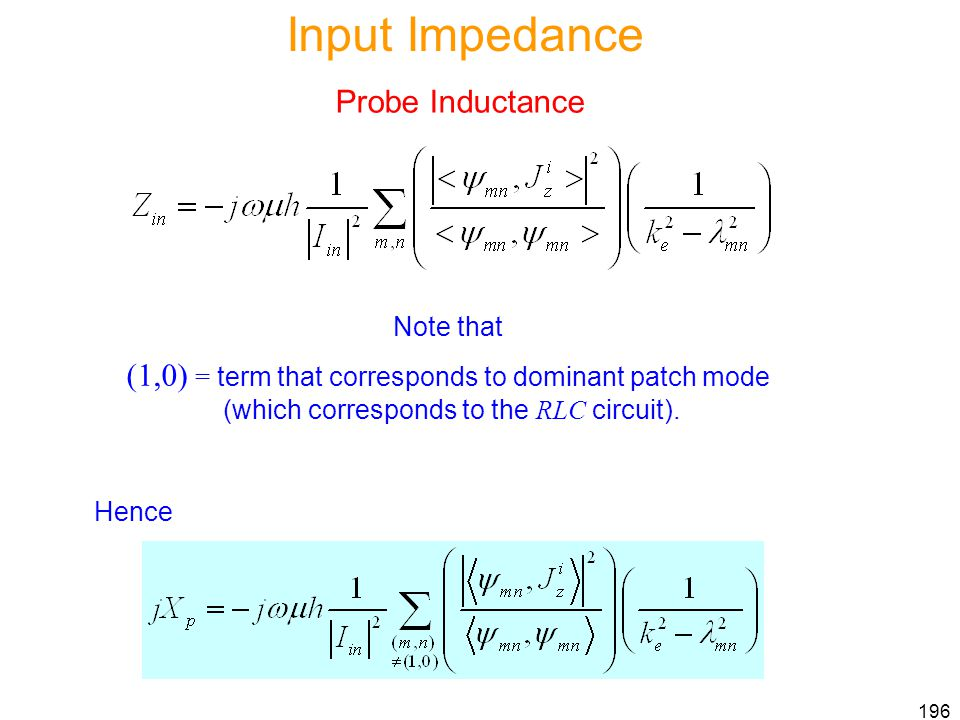 Input Impedance Probe Inductance