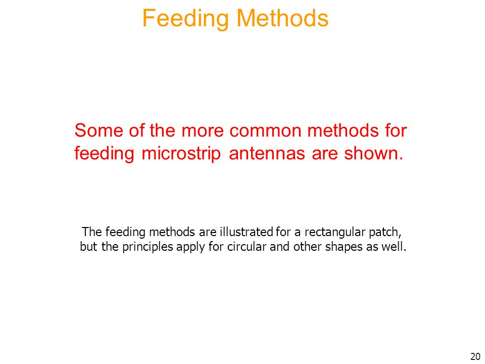 Feeding Methods Some of the more common methods for feeding microstrip antennas are shown.