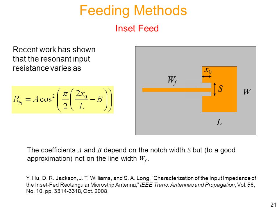 Feeding Methods Inset Feed x0 Wf S W L