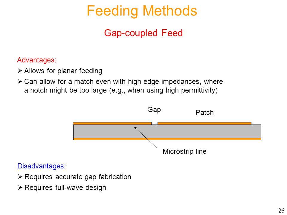 Feeding Methods Gap-coupled Feed Advantages: Allows for planar feeding