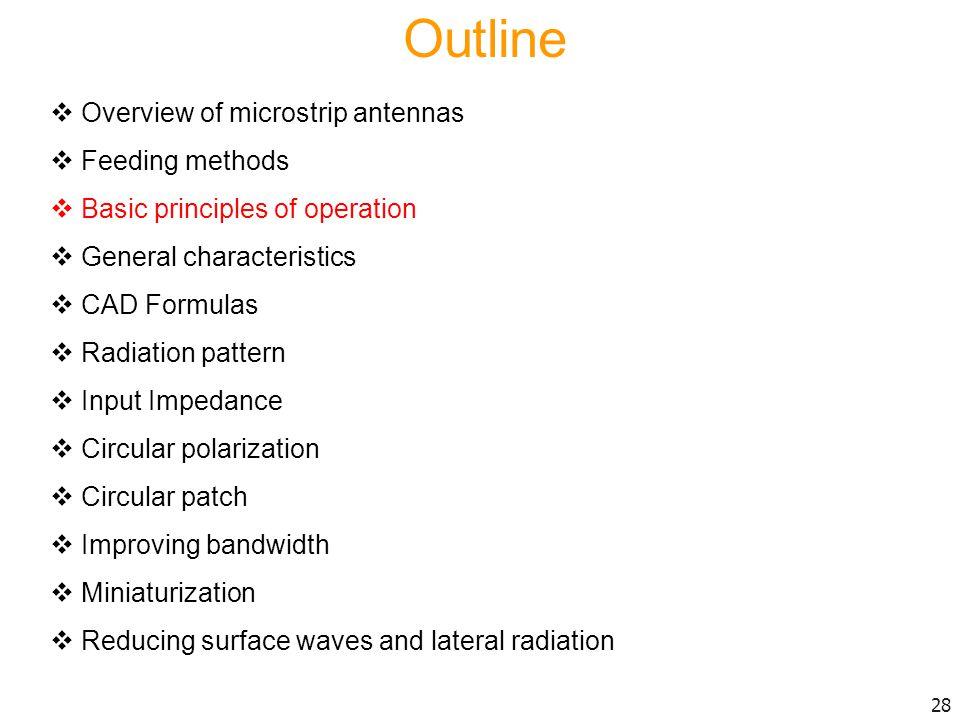 Outline Overview of microstrip antennas Feeding methods