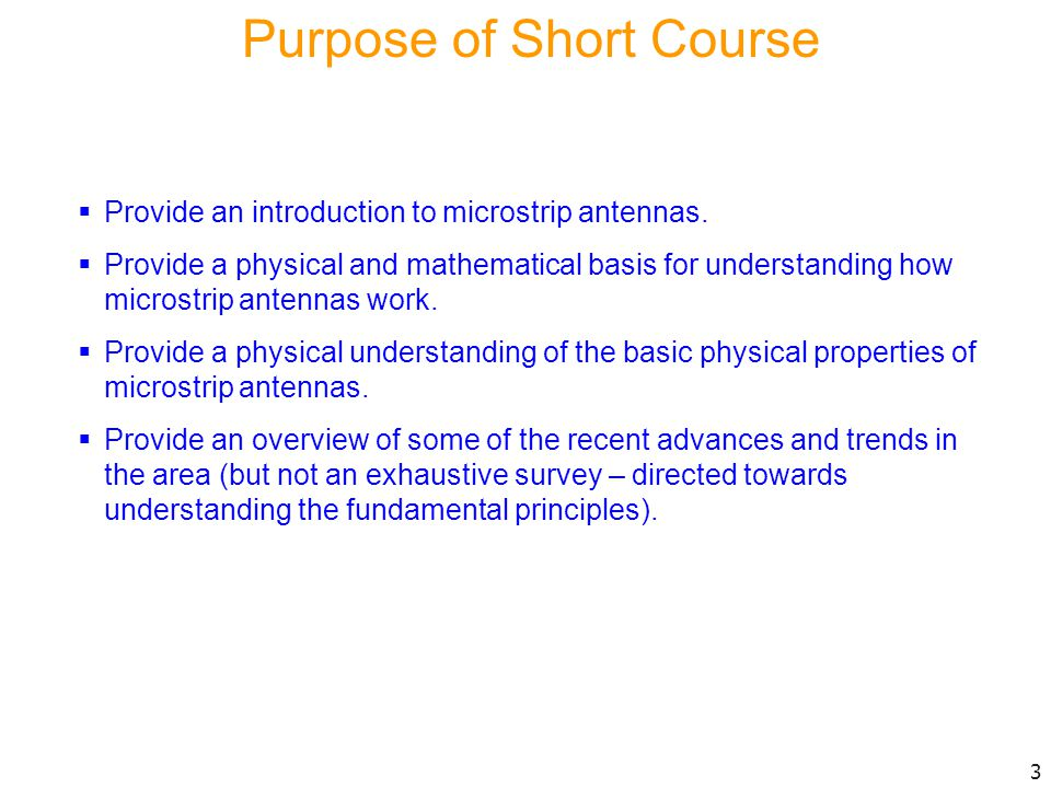 Purpose of Short Course