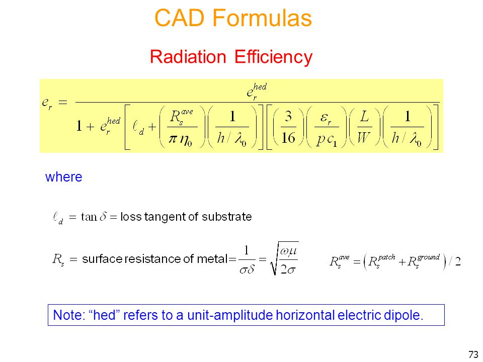 CAD Formulas Radiation Efficiency where