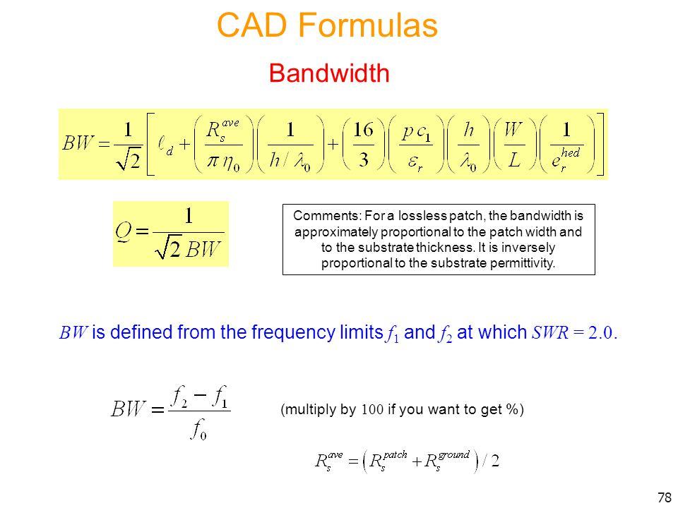 CAD Formulas Bandwidth