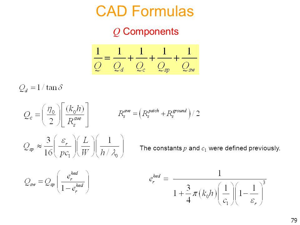 CAD Formulas Q Components