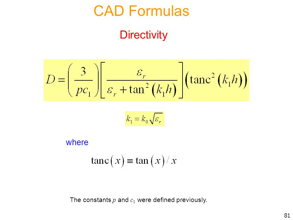 CAD Formulas Directivity where