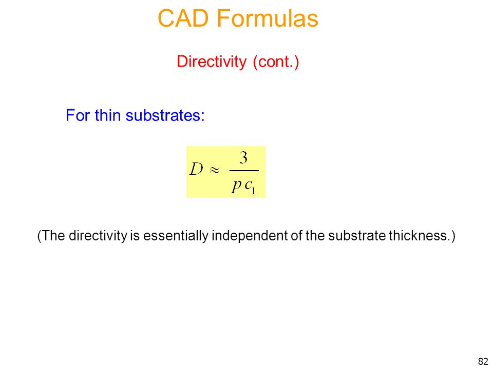 CAD Formulas Directivity (cont.) For thin substrates: