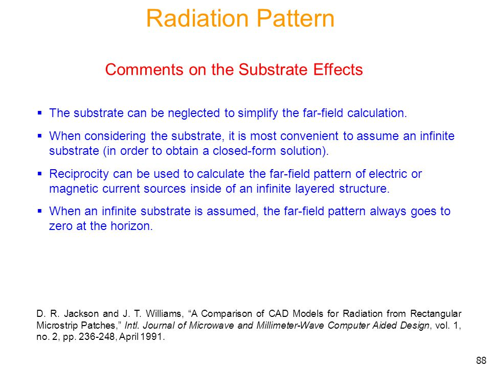 Radiation Pattern Comments on the Substrate Effects
