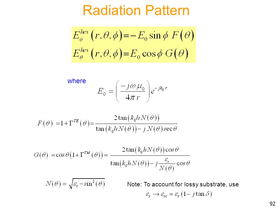 Radiation Pattern where Note: To account for lossy substrate, use