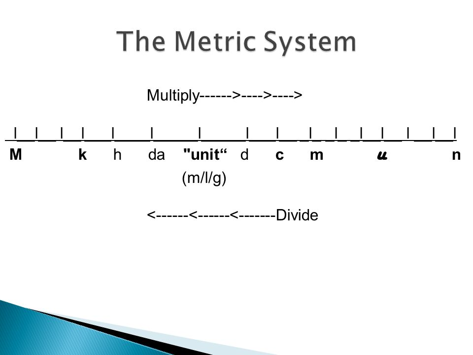 The Metric System Multiply------>---->---->