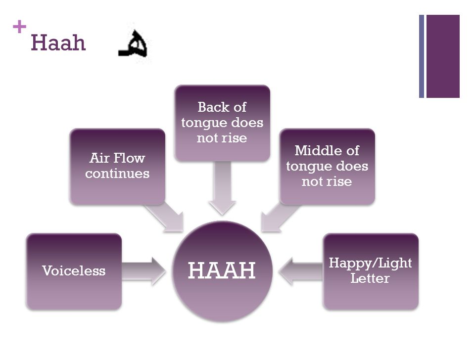 HAAH Haah Back of tongue does not rise Middle of tongue does not rise