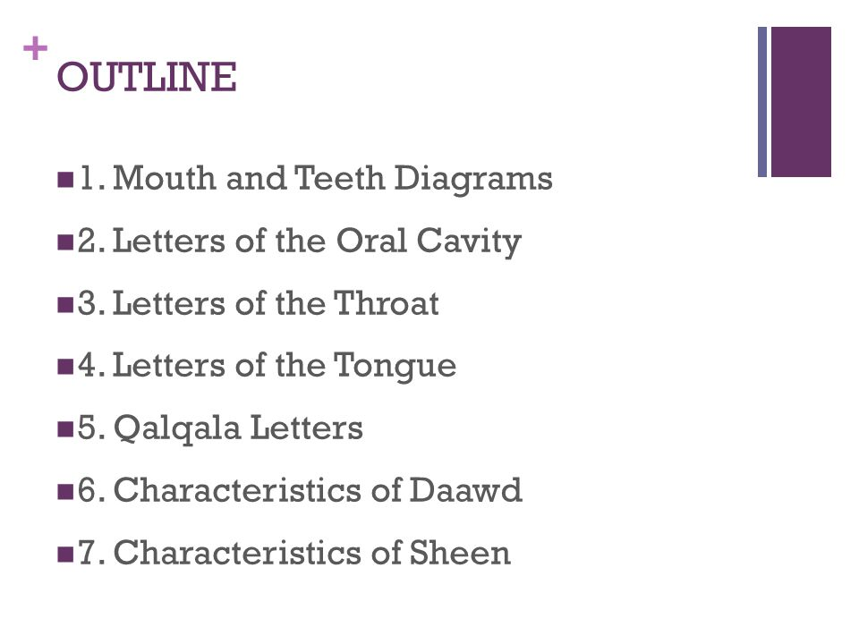 OUTLINE 1. Mouth and Teeth Diagrams 2. Letters of the Oral Cavity