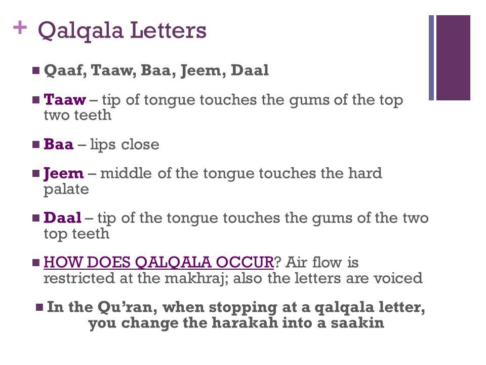 Qalqala Letters Qaaf, Taaw, Baa, Jeem, Daal