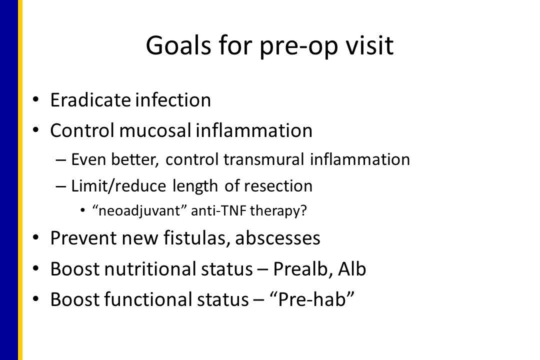 Goals for pre-op visit Eradicate infection