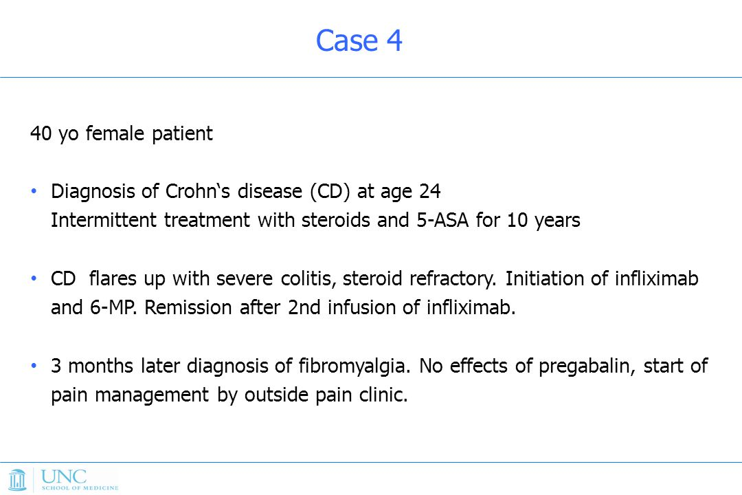 Case 4 40 yo female patient. Diagnosis of Crohn's disease (CD) at age 24 Intermittent treatment with steroids and 5-ASA for 10 years.