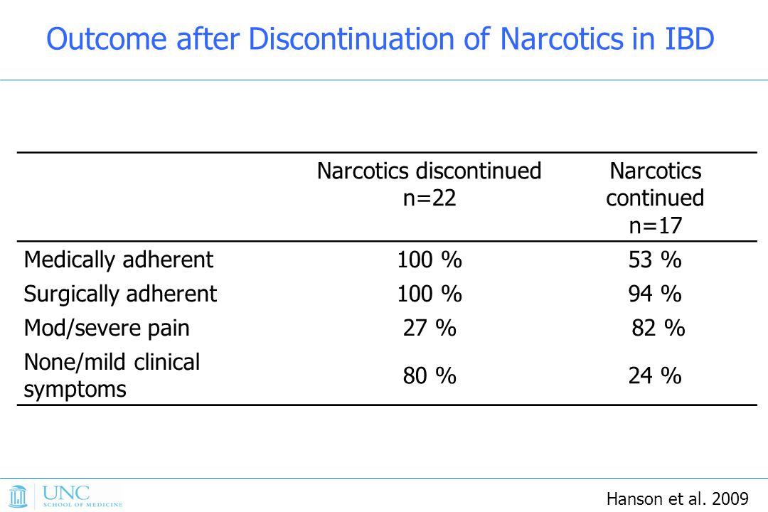 Narcotics discontinued