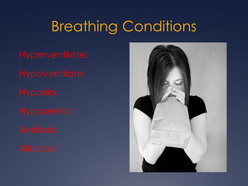 Breathing Conditions Hyperventilate: Hypoventilate: Hypoxia: Hypoxemia: Acidosis: Alkalosis: