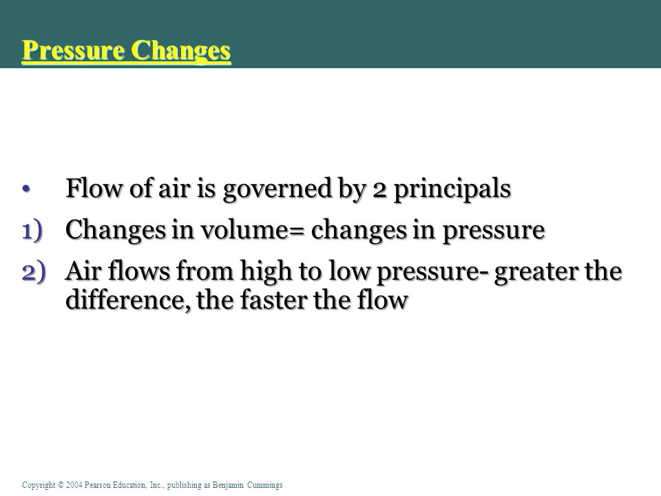 Pressure Changes Flow of air is governed by 2 principals