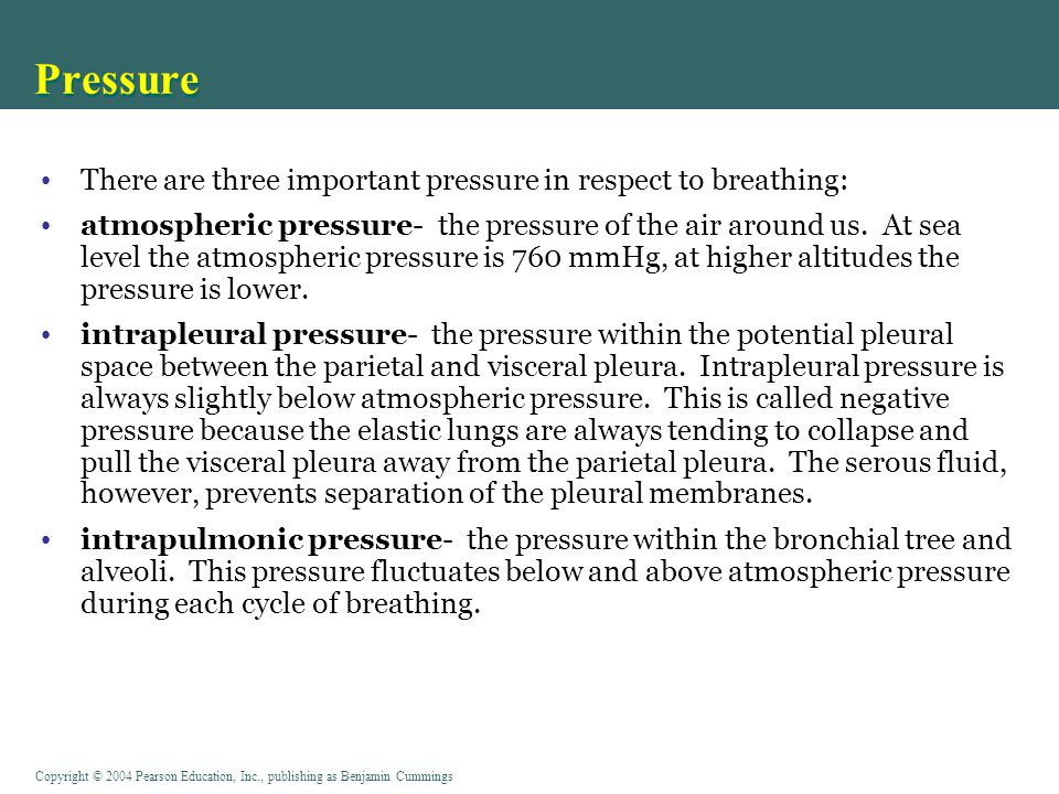 Pressure There are three important pressure in respect to breathing: