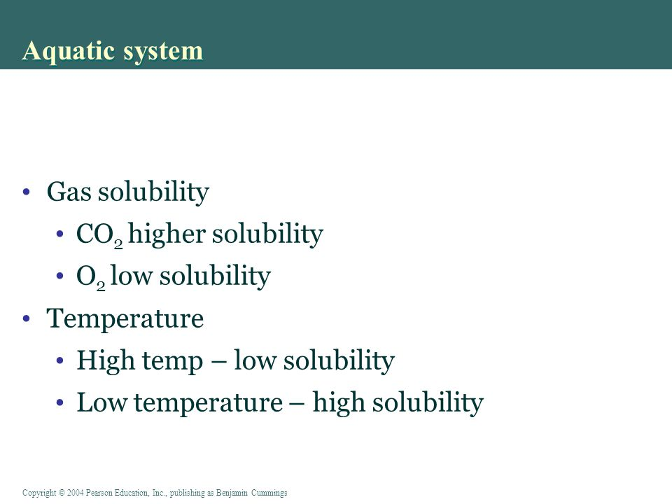 Aquatic system Gas solubility CO2 higher solubility O2 low solubility
