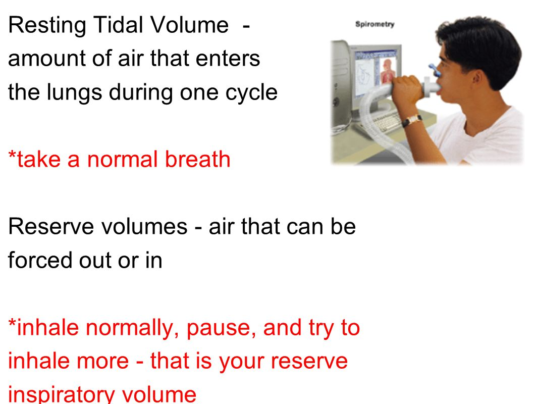 Resting Tidal Volume - amount of air that enters the lungs during one cycle