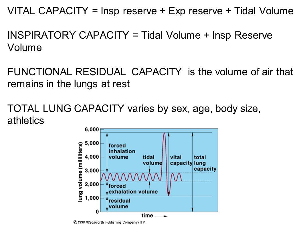 VITAL CAPACITY = Insp reserve + Exp reserve + Tidal Volume