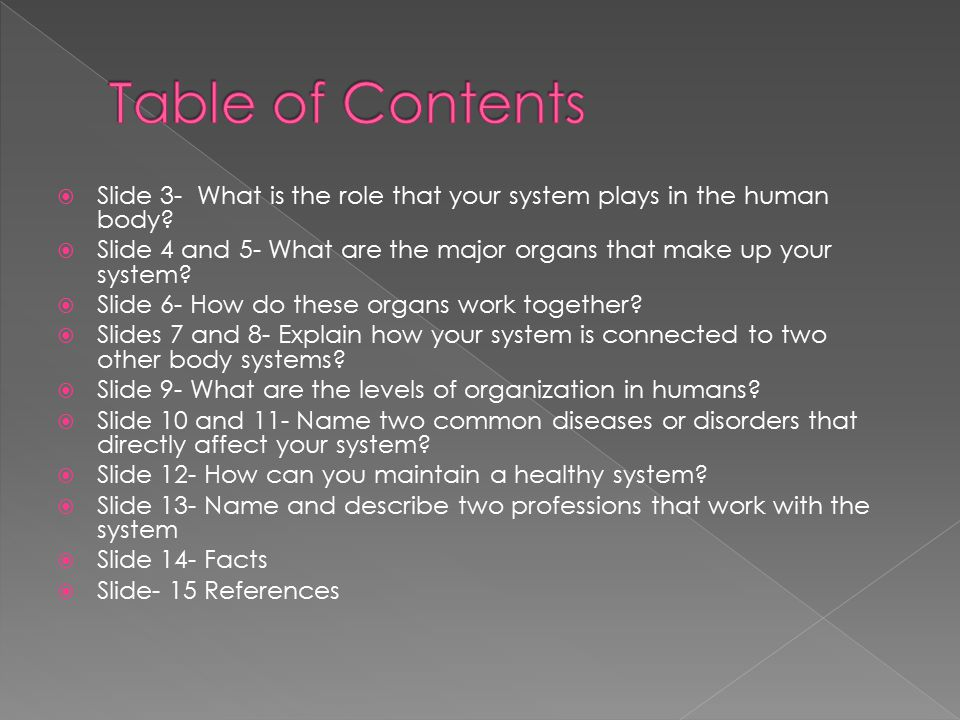 Table of Contents Slide 3- What is the role that your system plays in the human body