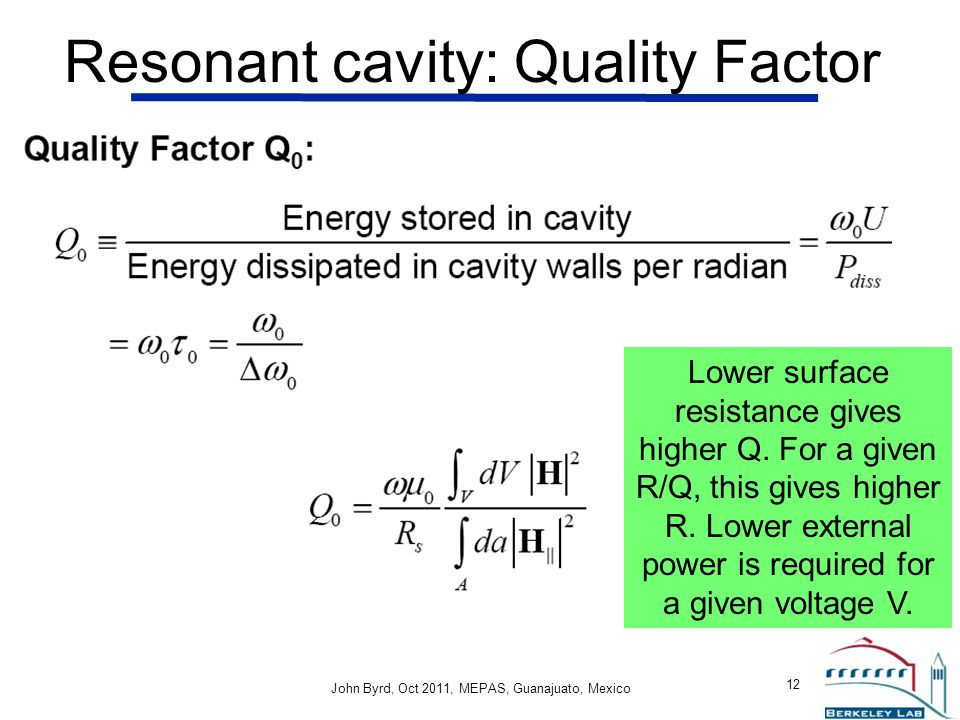 Resonant cavity: Quality Factor