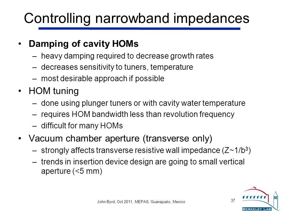 Controlling narrowband impedances
