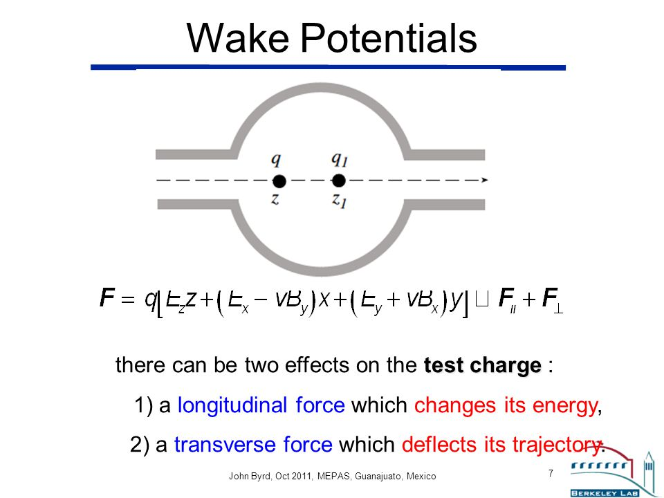 Wake Potentials there can be two effects on the test charge :