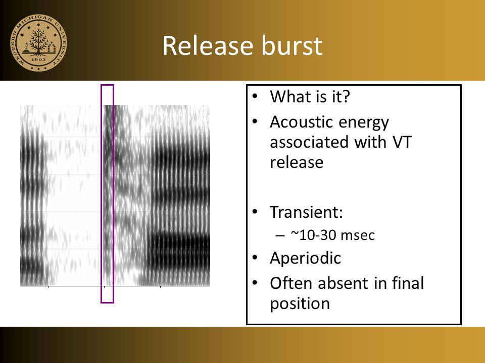 Release burst What is it Acoustic energy associated with VT release