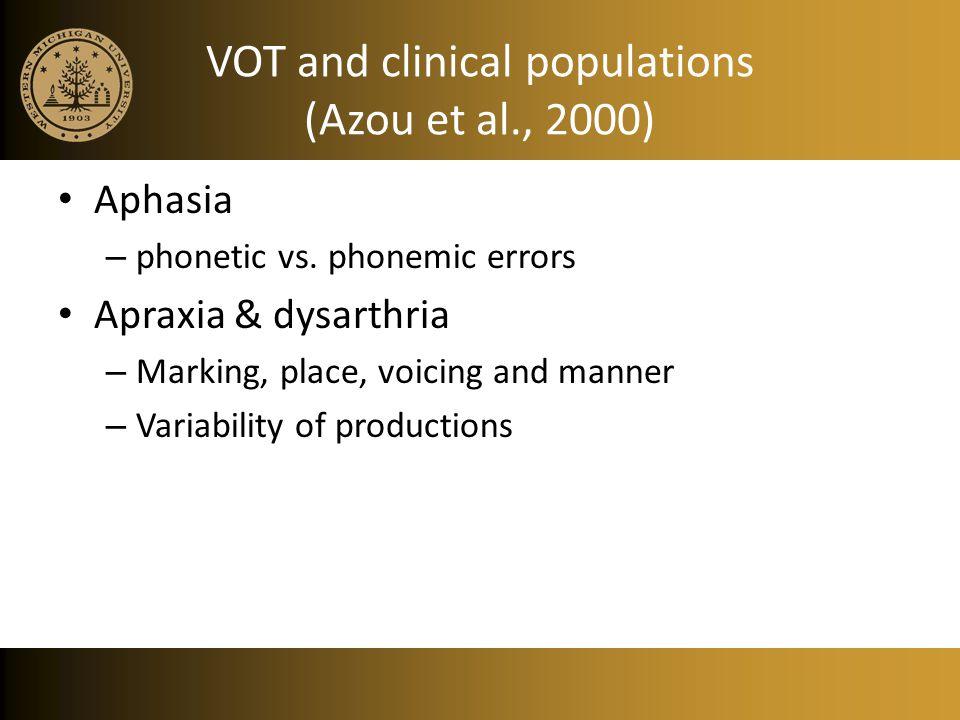 VOT and clinical populations (Azou et al., 2000)