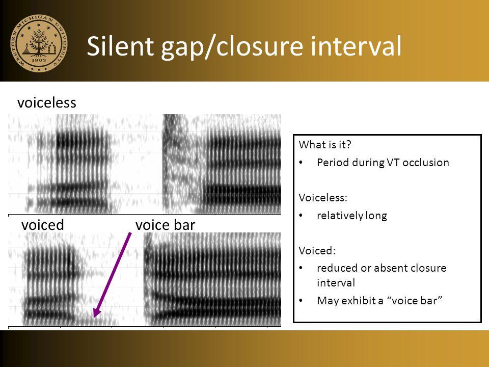 Silent gap/closure interval