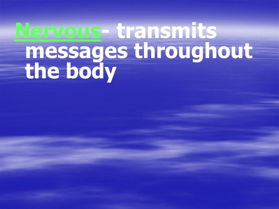 Nervous- transmits messages throughout the body