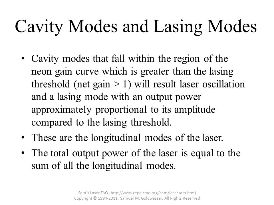 Cavity Modes and Lasing Modes