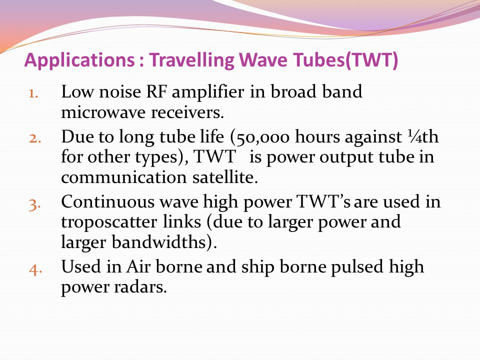 Applications : Travelling Wave Tubes(TWT)