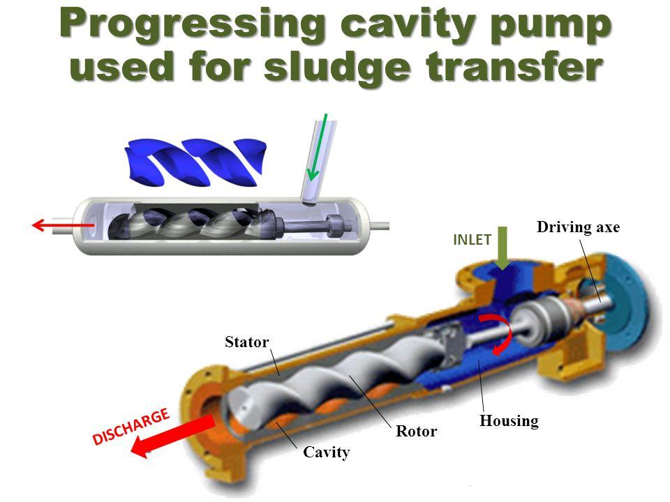 Progressing cavity pump used for sludge transfer