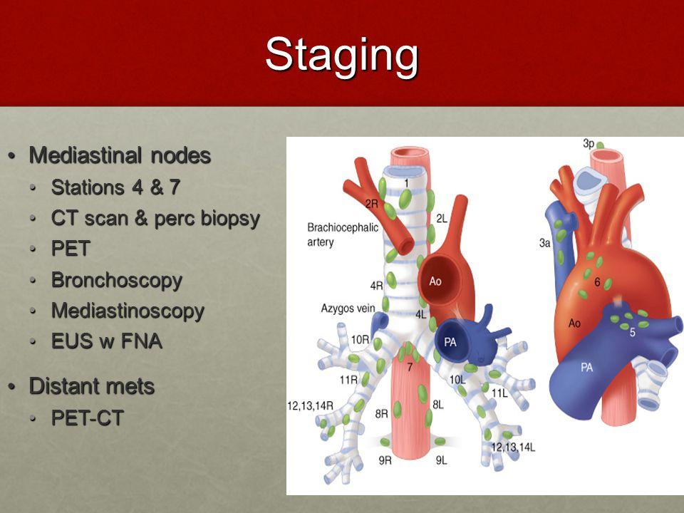 Staging Mediastinal nodes Distant mets Stations 4 & 7